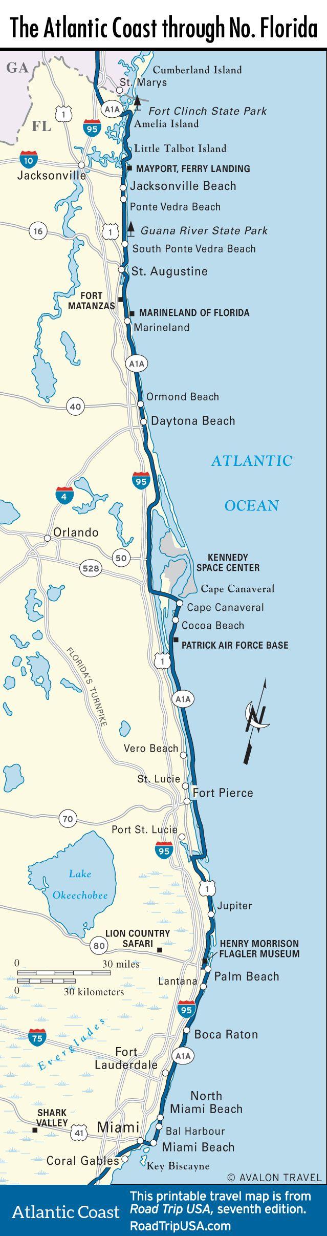 Map Of The Atlantic Coast Through Northern Florida.   Florida A1A - Florida Destinations Map