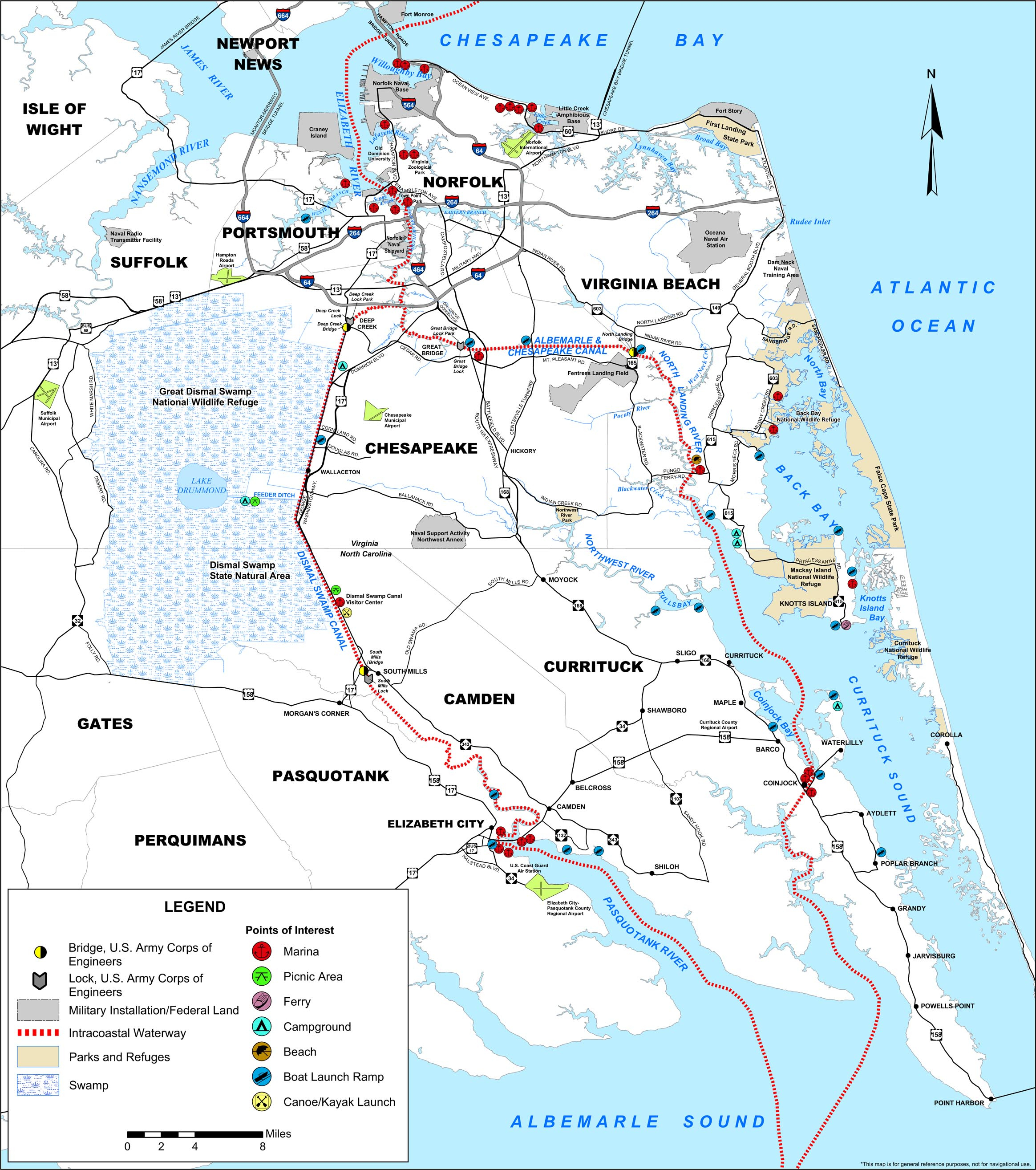 Map Of The Atlantic Intracoastal Waterway | Ncpedia - Intracoastal Waterway Florida Map