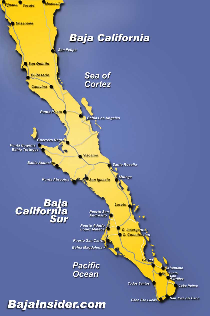 Map Of The Baja California Peninsula Of Mexico   Bajainsider - Map Of California And Mexico Coast