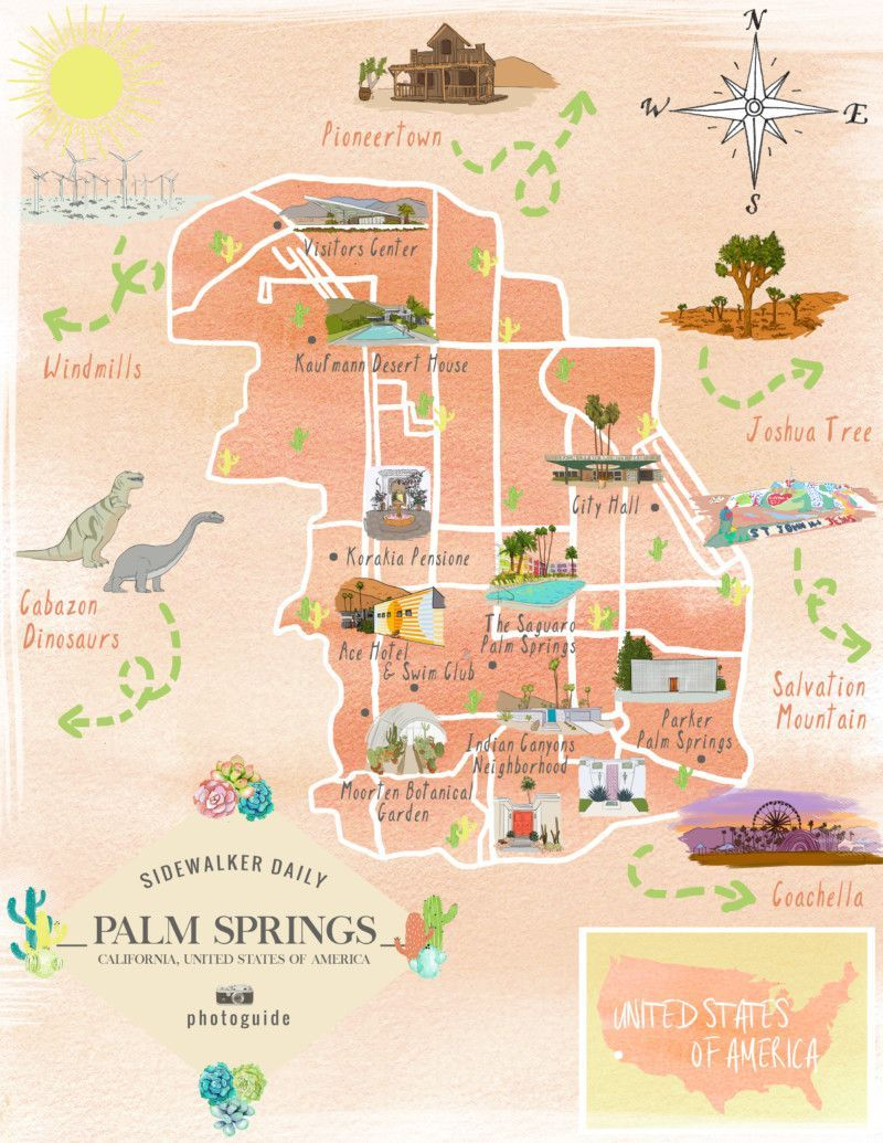 Map Of The Best Los Angeles Instagram Spots | Palm Springs In 2019 - Map Of Palm Springs California And Surrounding Area