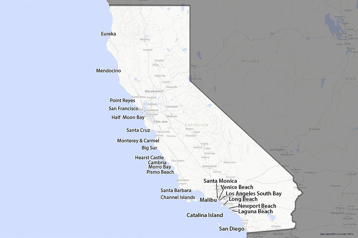 Map Of The California Coast - 1,100 Glorious Miles - Southern California Beach Towns Map