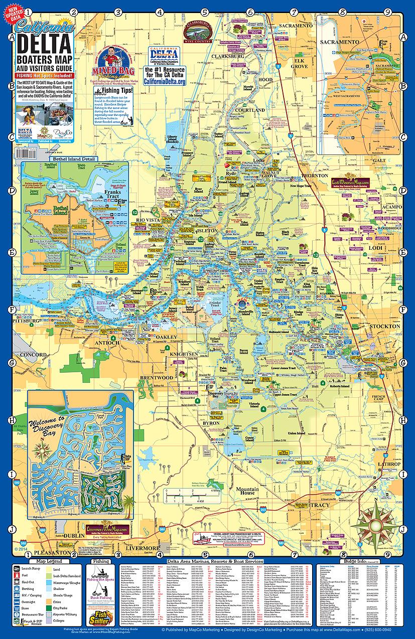 Map Of The California Delta - Klipy - California Delta Bass Fishing Map