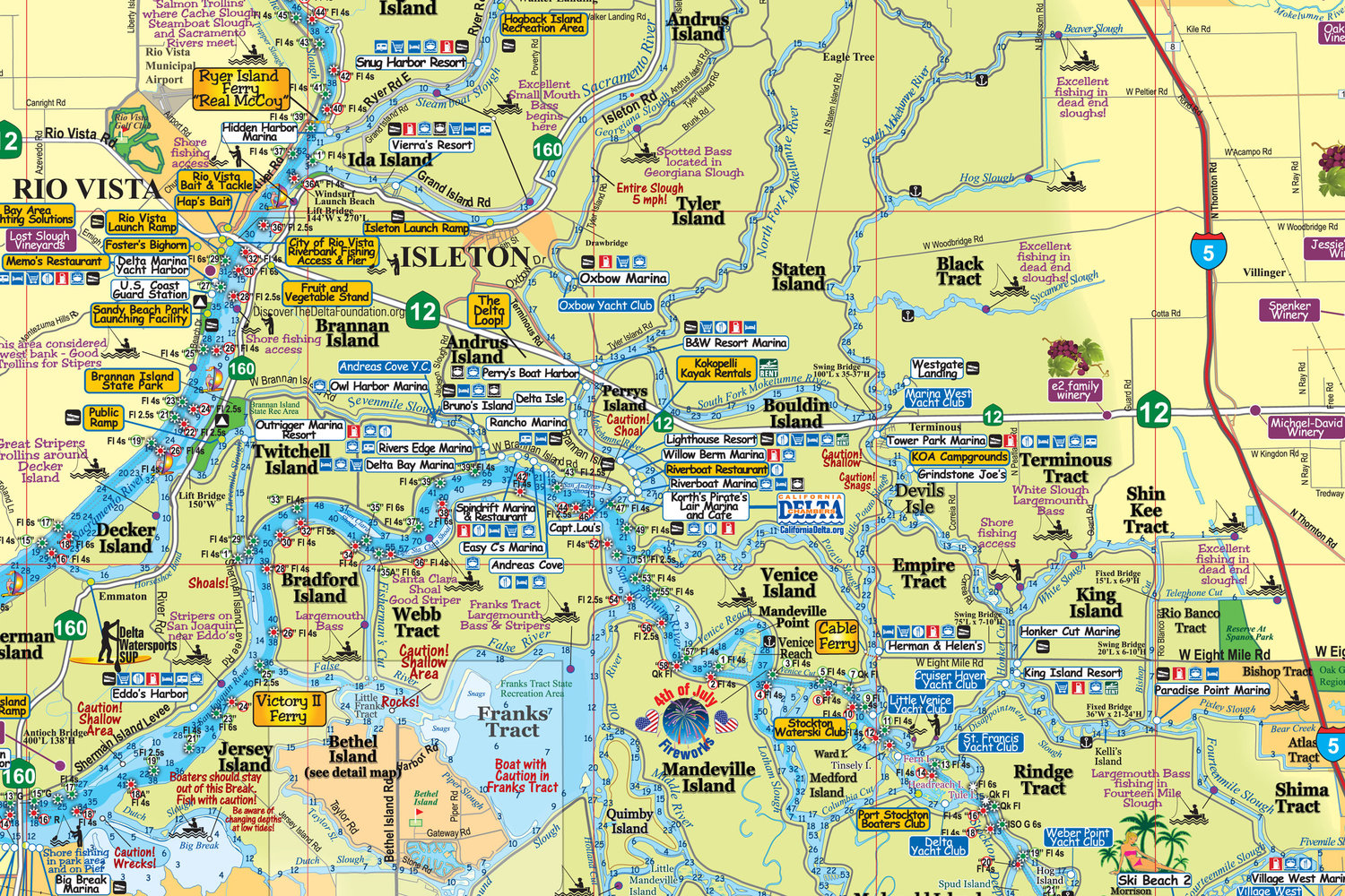 Map Of The California Delta - Klipy - California Delta Bass Fishing Map