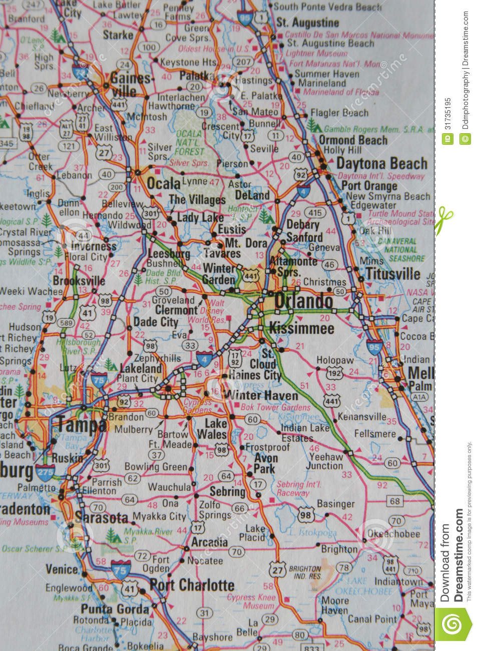 Map Of The City Of Orlando And Central Florida Stock Image - Image - Free Map Of Florida Cities
