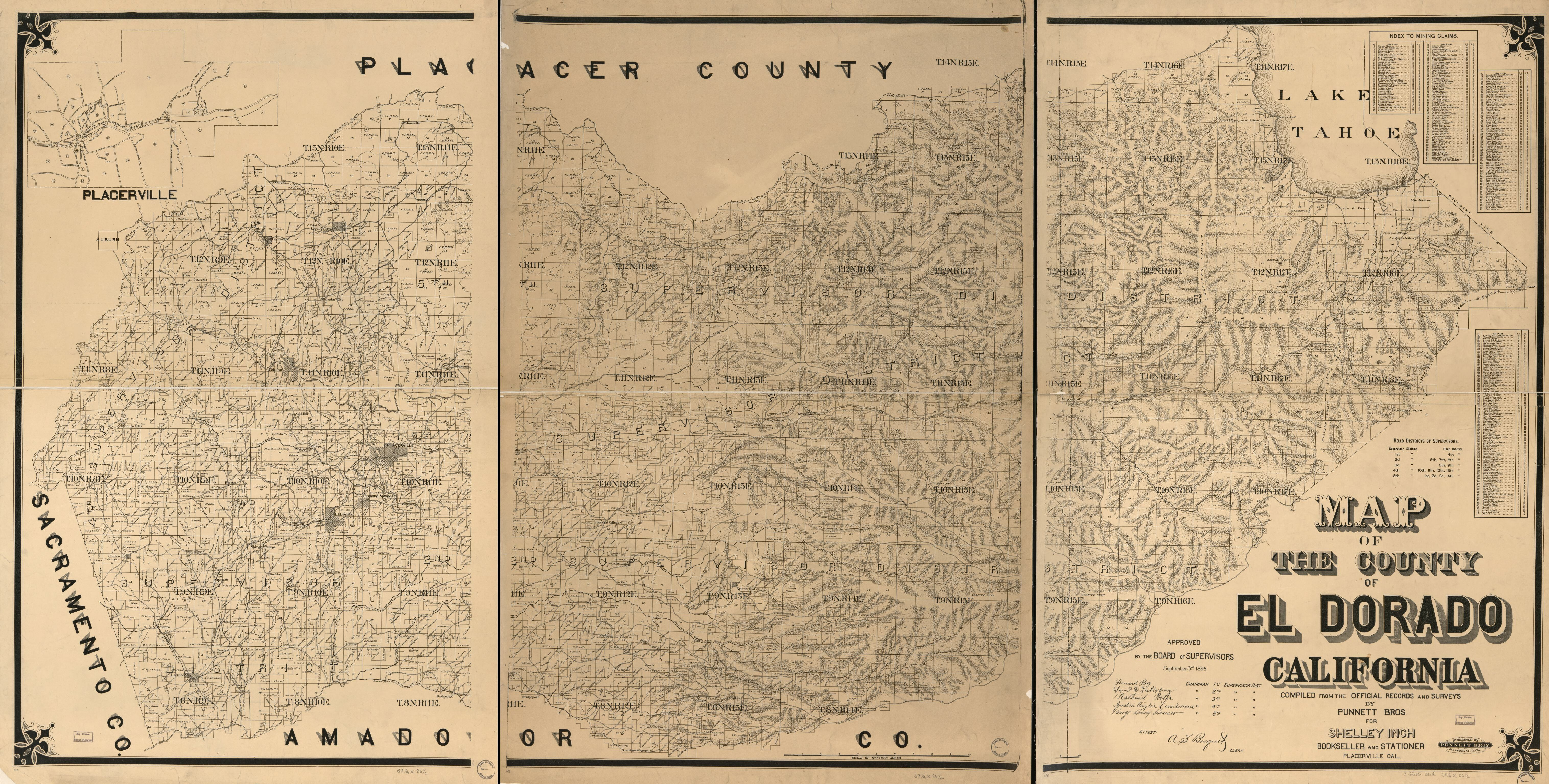 Map Of The County Of El Dorado, California : Compiled From The - El Dorado County California Parcel Maps