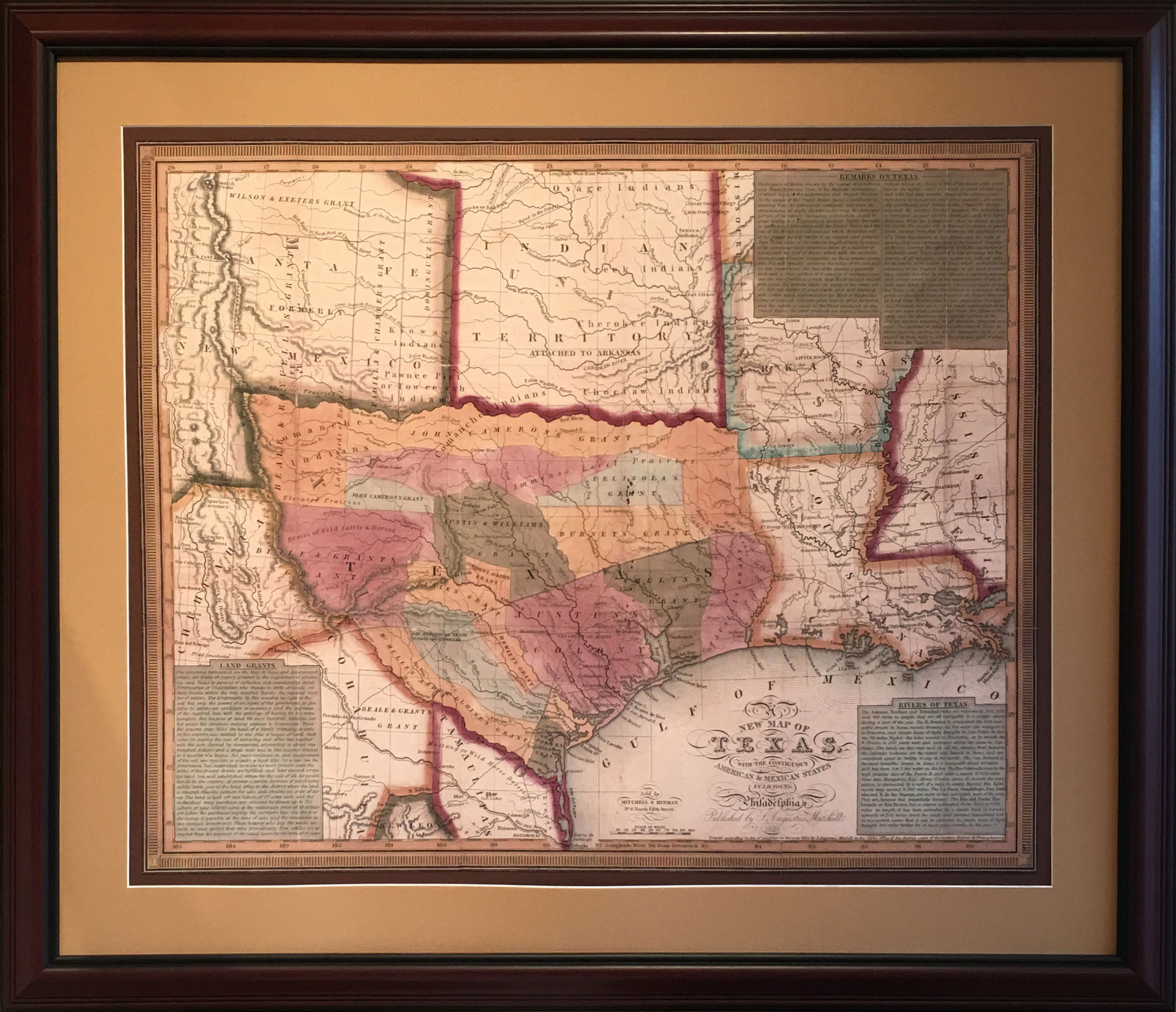 Map Of The Early Texas Land Grants - Gallery Of The Republic - Texas Map Framed Art