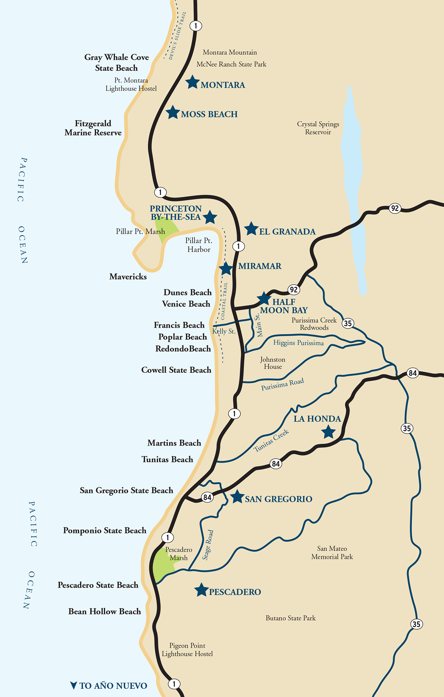 Map Of The Half Moon Bay Coastside | Visit Half Moon Bay - Half Moon Bay California Map