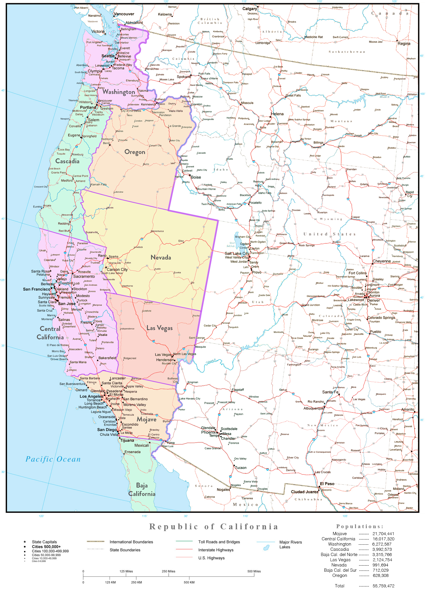 Map Of The Independent Republic Of California : Imaginarymaps - Map Of The New California Republic
