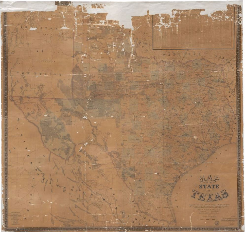 Map Of The State Of Texas, 1879 – Texas General Land Office – Medium - Texas General Land Office Maps