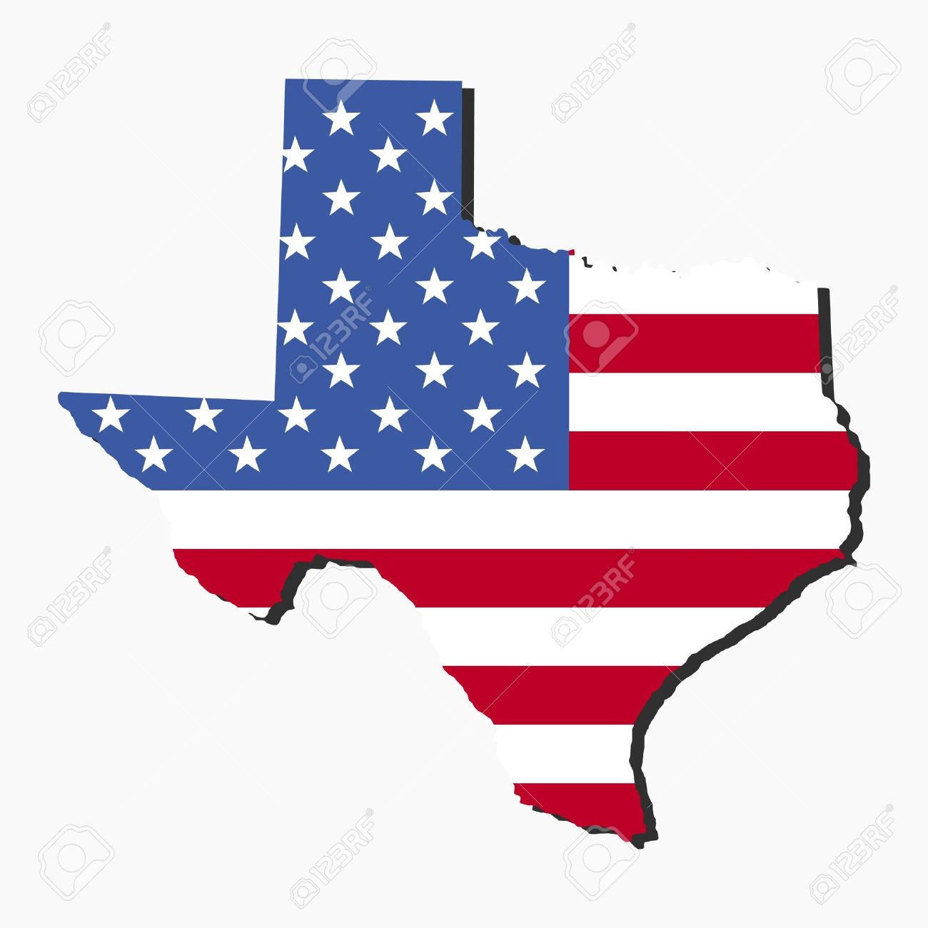 Map Of The State Of Texas And American Flag Illustration Stock Photo - Texas Flag Map