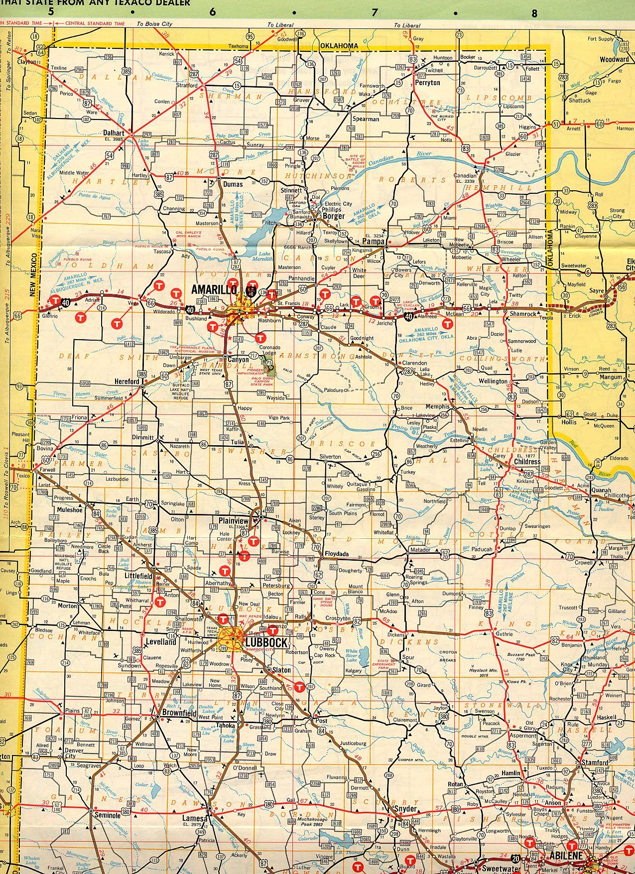 Map Of The Texas Panhandle | G&g 60Th Anniversary Party | Pinterest - Route 66 Texas Map