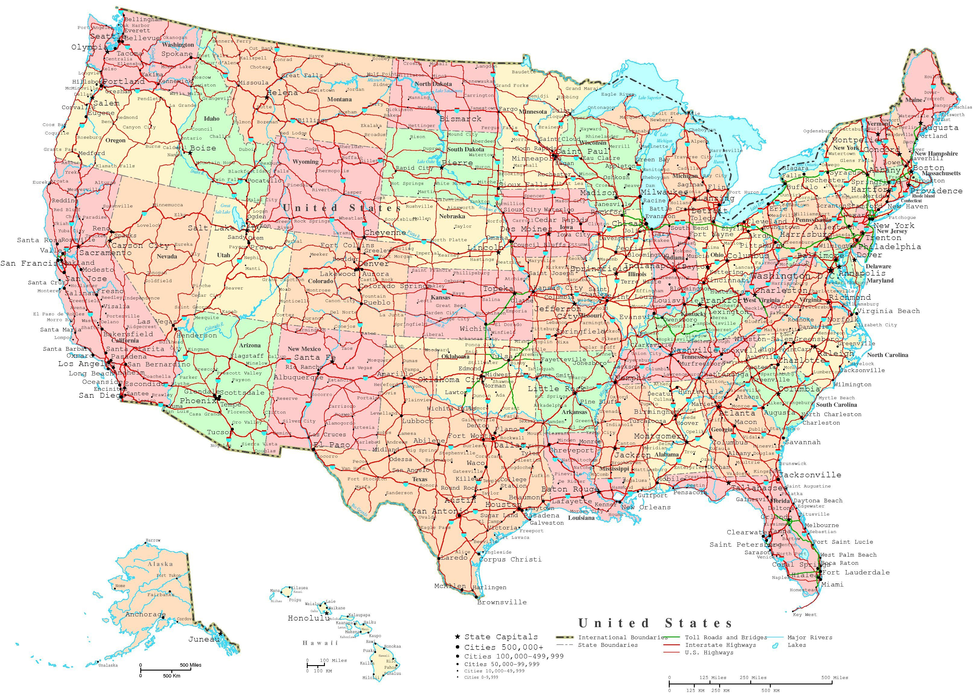 Map Of The Us States | Printable United States Map | Jb's Travels - Printable State Road Maps
