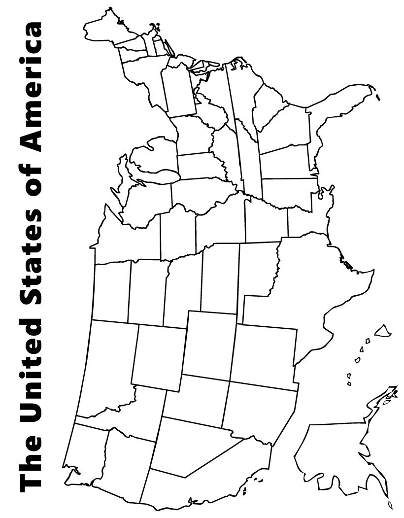 Map Of The Usa Coloring Page   Kids   Pinterest   Page Maps, Us Map - Printable Children's Map Of The United States