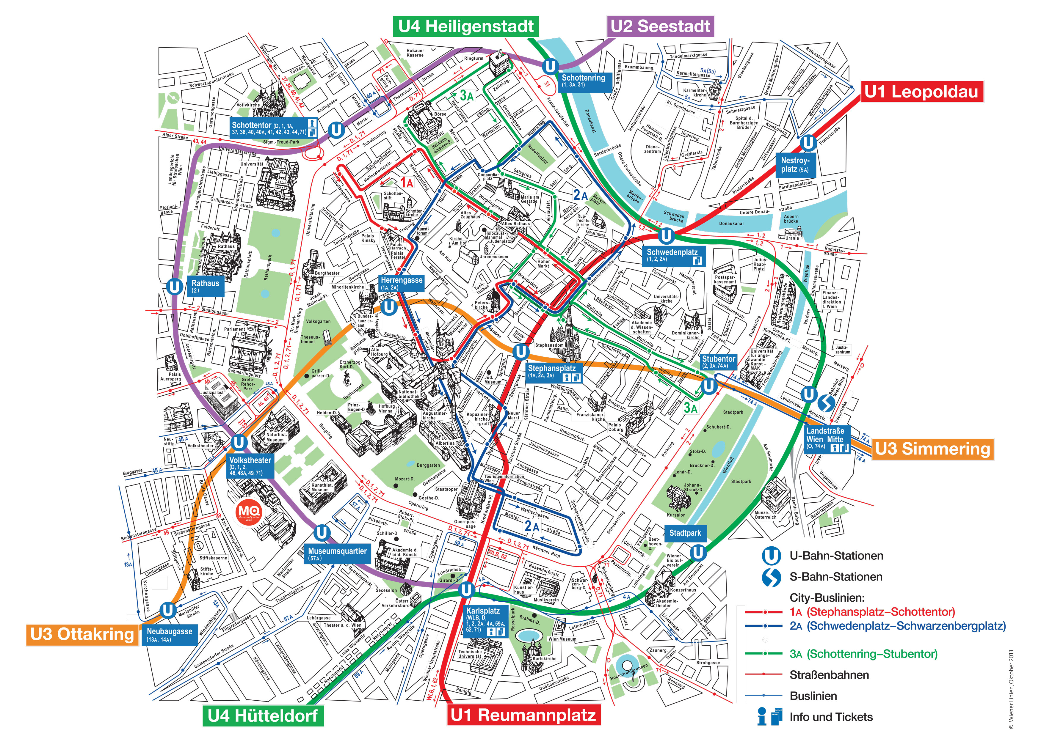 Map Of Vienna Tourist Attractions, Sightseeing & Tourist Tour - Vienna City Map Printable