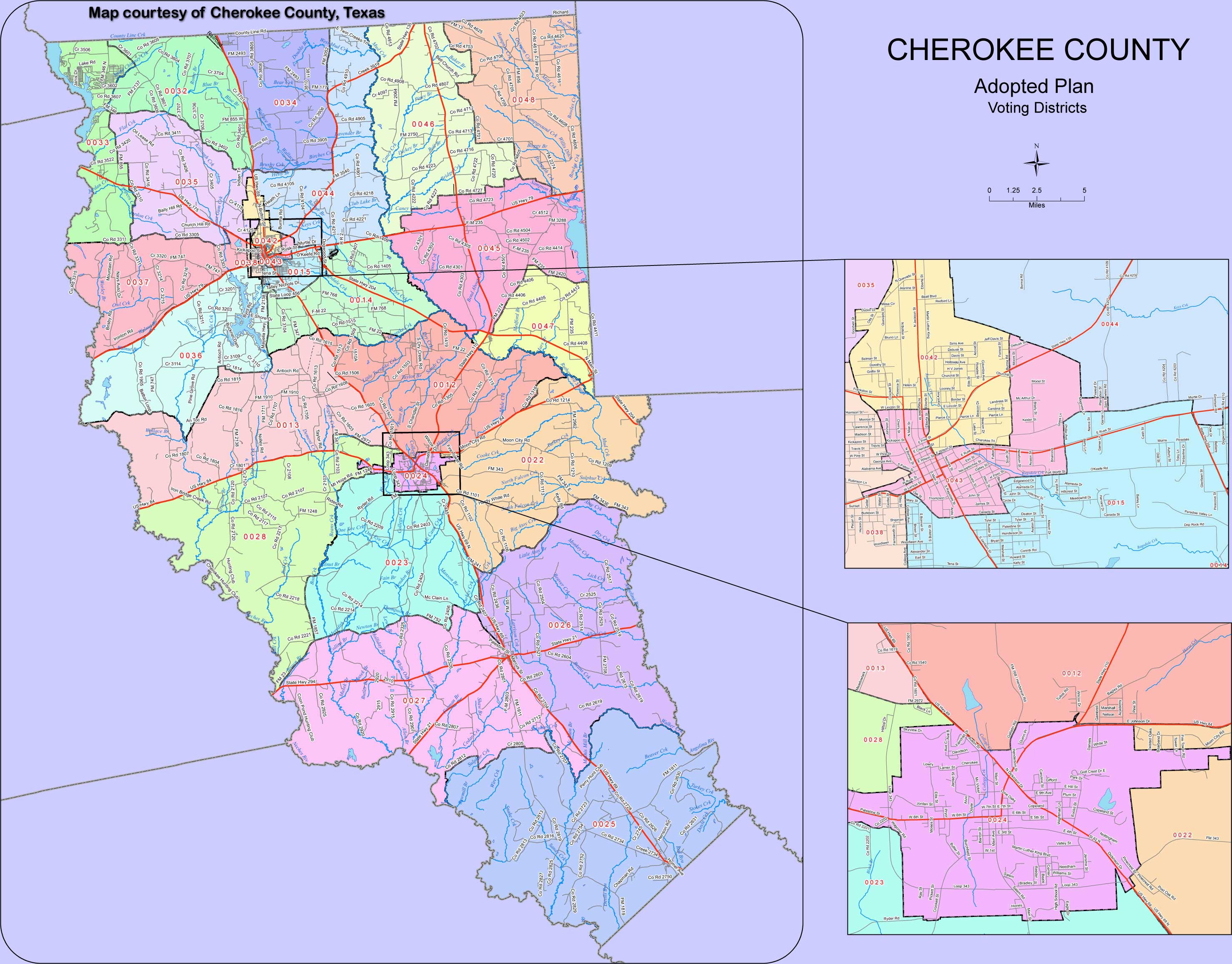 Map Of Voting Districts, Cherokee County, Texas. - Texas District 25 Map