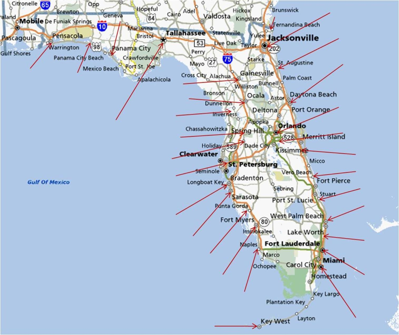 Map Of West Coast Florida Maps For City - Link-Italia - Map Of Eastern Florida Beaches
