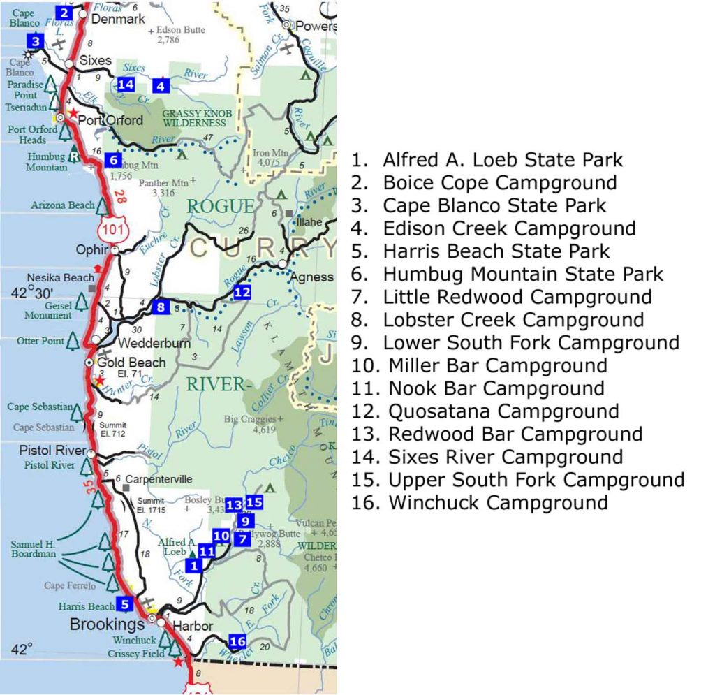 Map Oregon Washington Coast South Southern Area Campgrounds Digital - Camping Northern California Coast Map