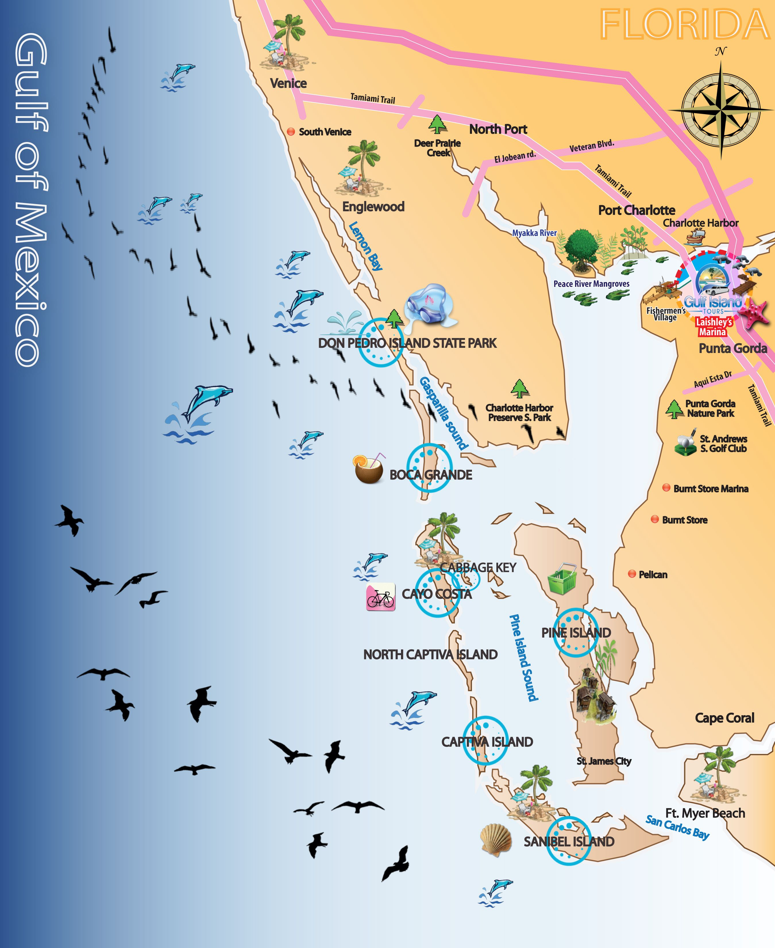 Map Out Your Next Vacation In The Florida Gulf! | Gulf Island Tours - Florida Vacation Destinations Map