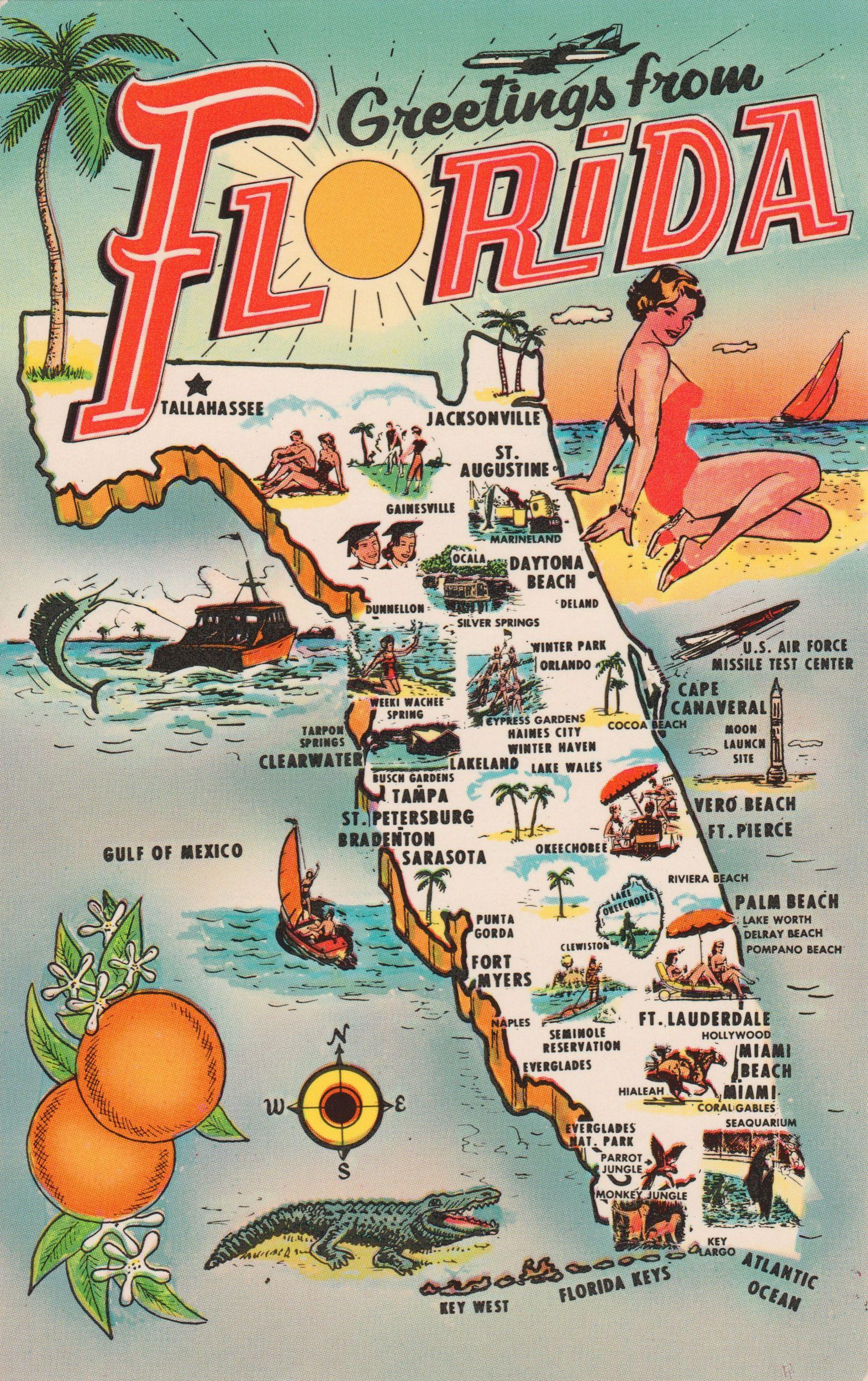 Map Postcards | Postcard Roundup | Printables | Vintage Florida - Vintage Florida Map Poster