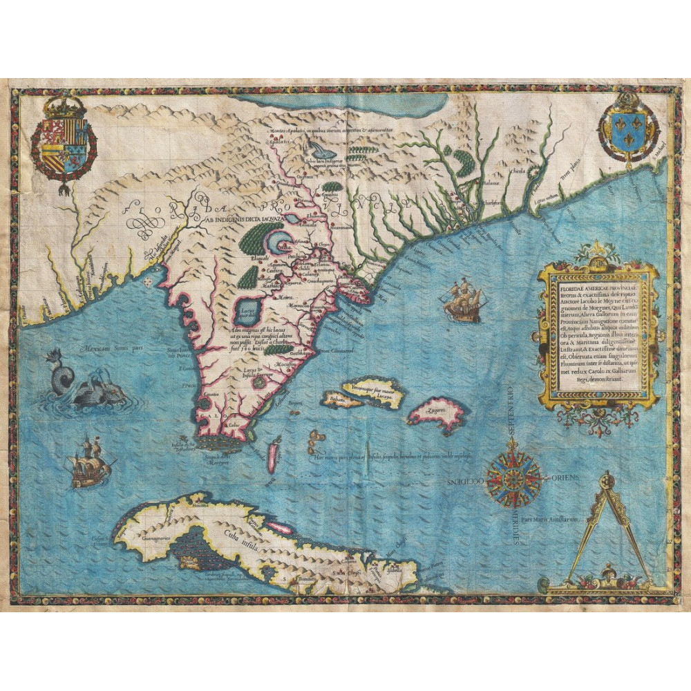 Map Posters : Antique Florida And Cuba Map Poster, Canvas, - Florida Map Poster