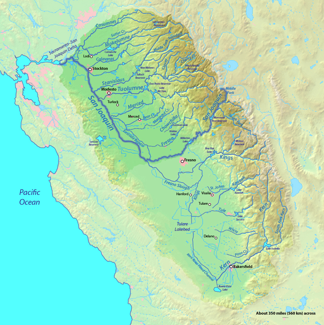Map San Joaquin River Maps Of California Map Of California Rivers - Southern California Rivers Map