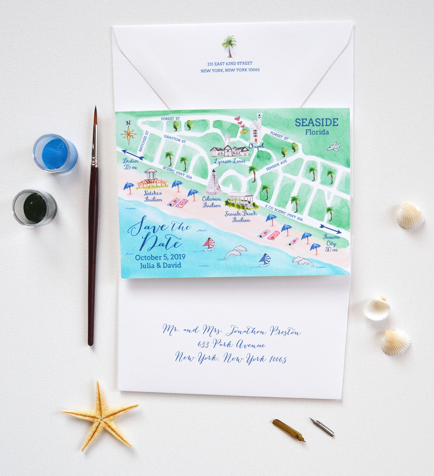 Map Save The Date, Seaside Wedding Save The Date | Mospens Studio - Map Of Watercolor And Seaside Florida