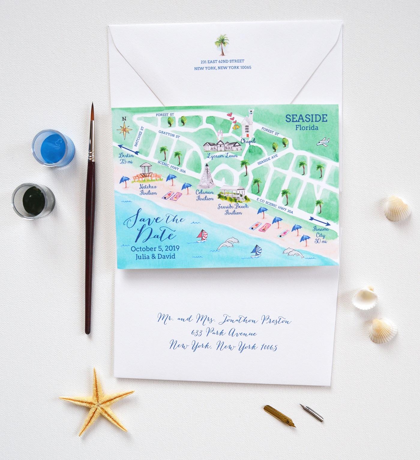 Map Save The Date, Seaside Wedding Save The Date | Mospens Studio - Seaside Florida Map