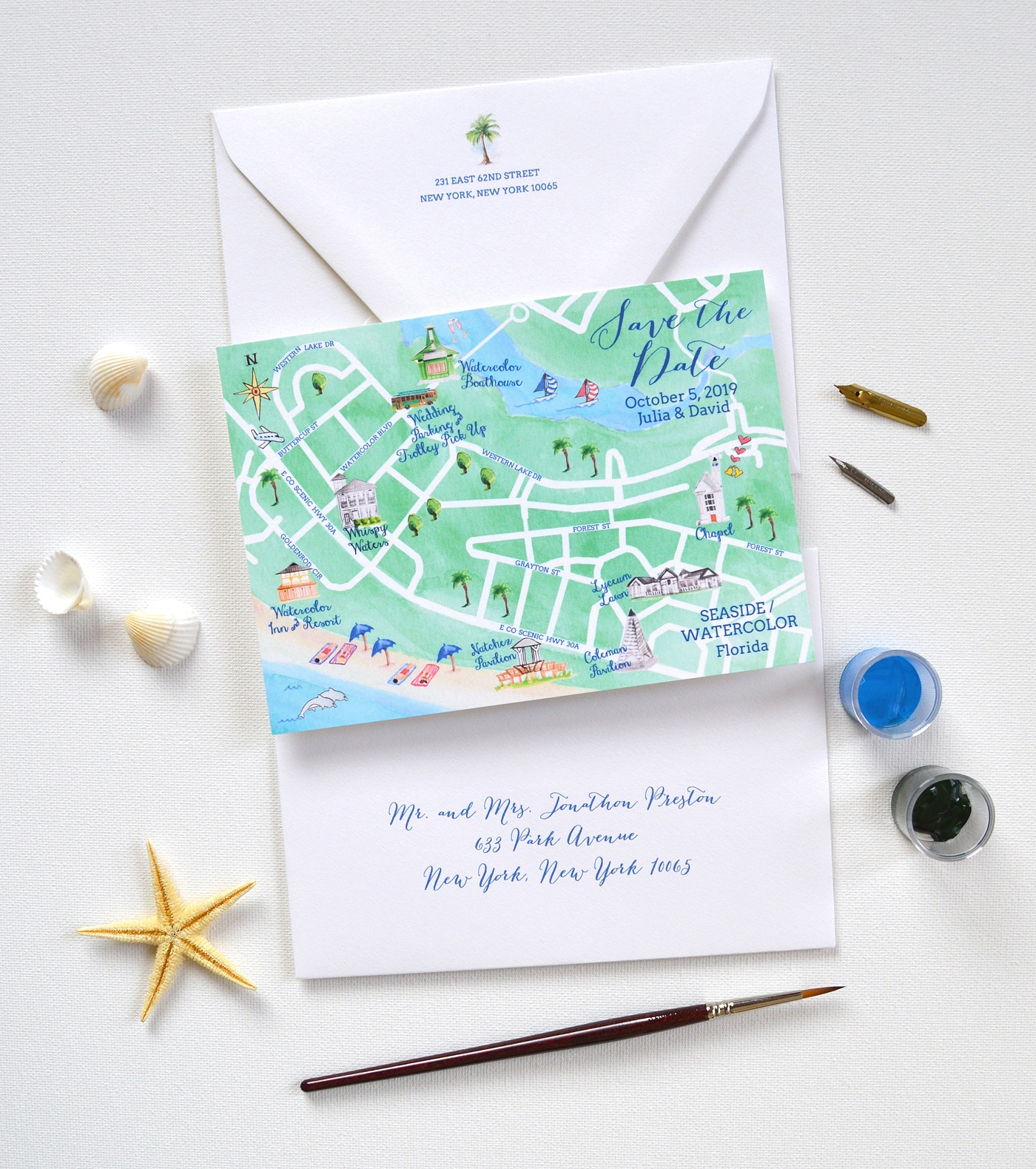 Map Save The Date, Watercolor Seaside Save The Date | Mospens Studio - Where Is Watercolor Florida On A Map