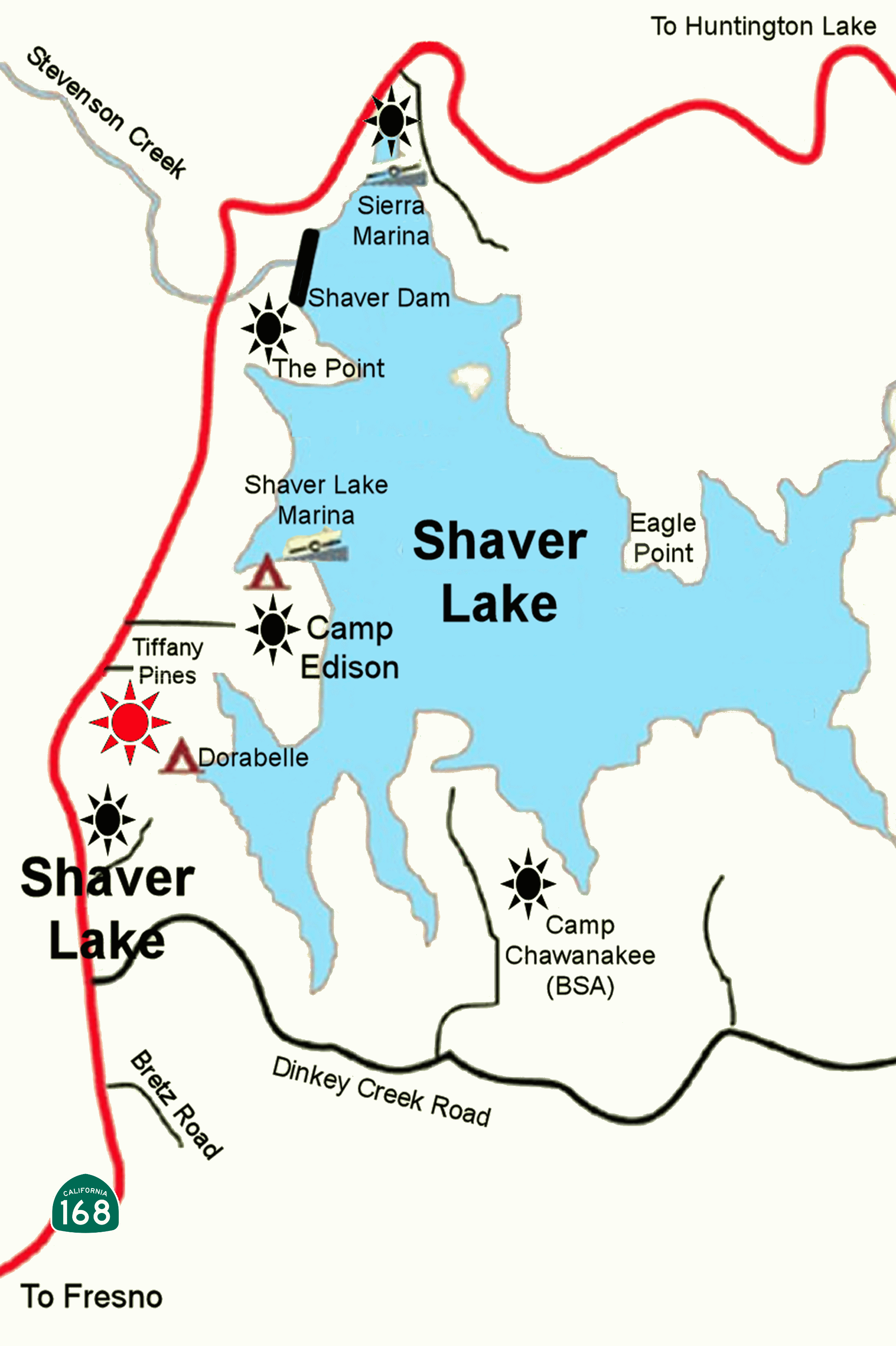 Map – Shaver Lake Trophy Trout - Shaver Lake California Map