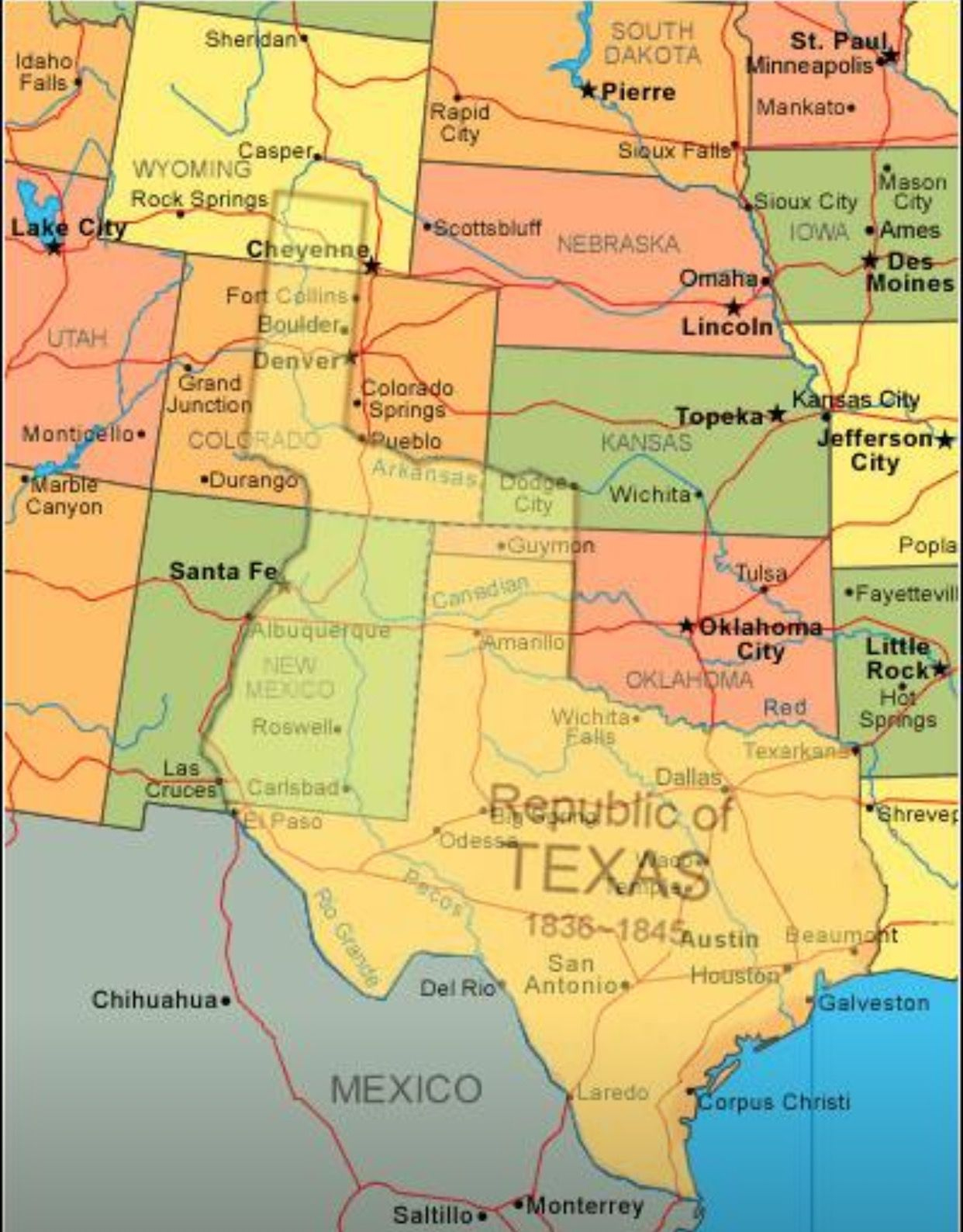 Map Showing Current Usa With The Republic Of Texas Superimposed - Johnson City Texas Map