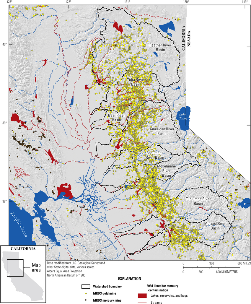 Map Showing Locations Of Historical Gold Mines In The Sierra Nevada - Gold In California Map