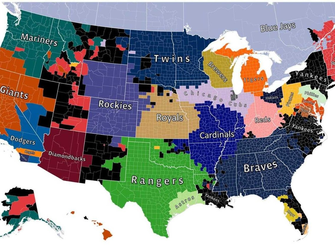 Map Shows The Most Popular Mlb Team In Every Us County - Business - California Baseball Teams Map