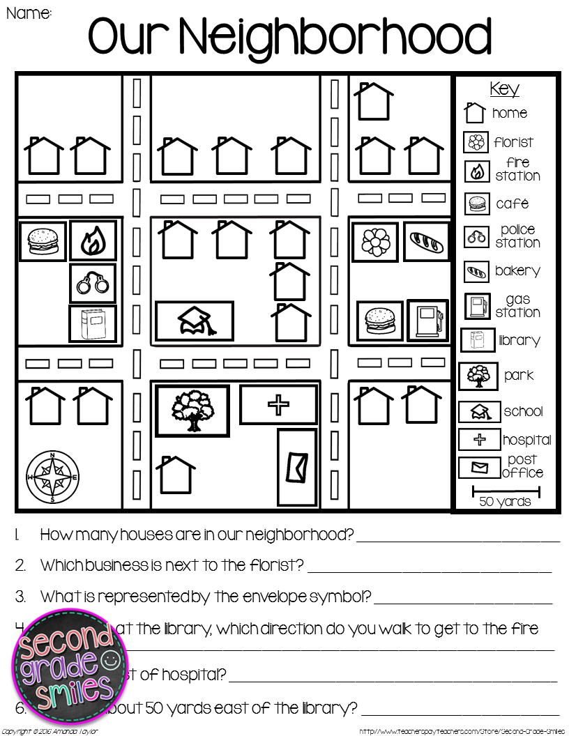 Map Skills - Reading Maps Printables & Map Making Task | Social - Printable Map Directions
