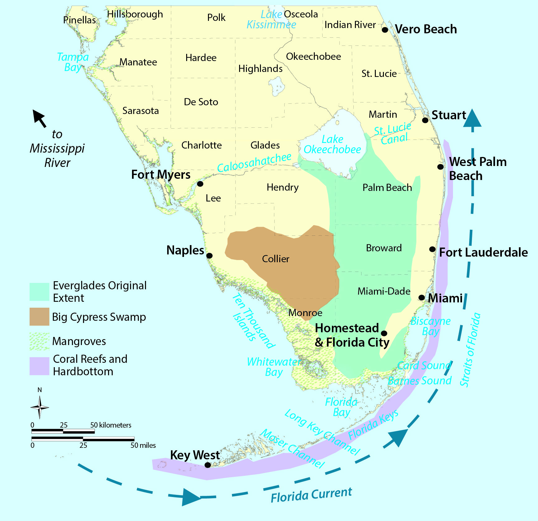 Map South Florida And Travel Information | Download Free Map South - Map Of S Florida