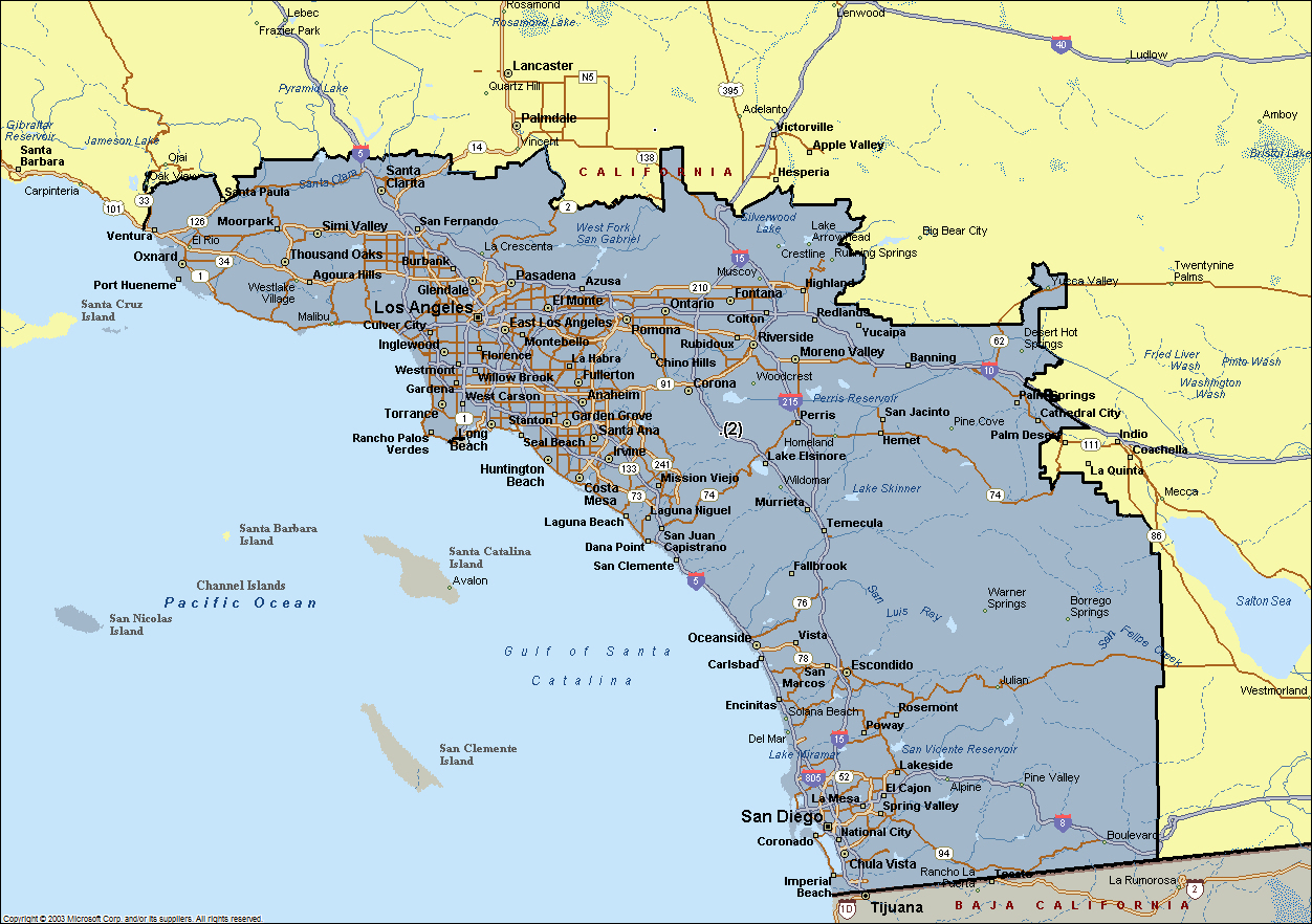 Map Southern California Cities Maps Of California Southern - Map Of Southern California Beach Cities