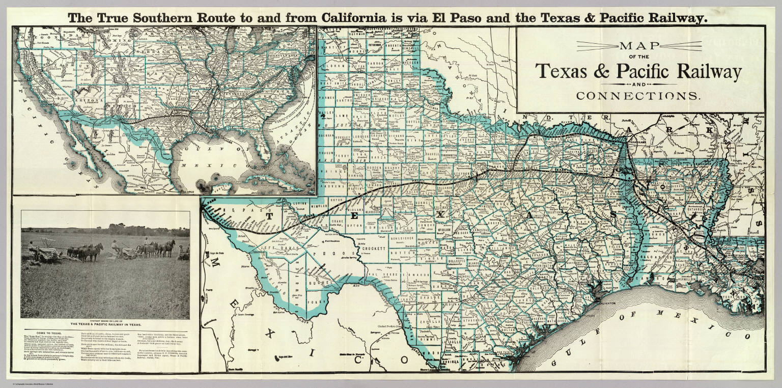 Map, Texas & Pacific Railway & Connections. / Texas And Pacific - Texas Louisiana Border Map