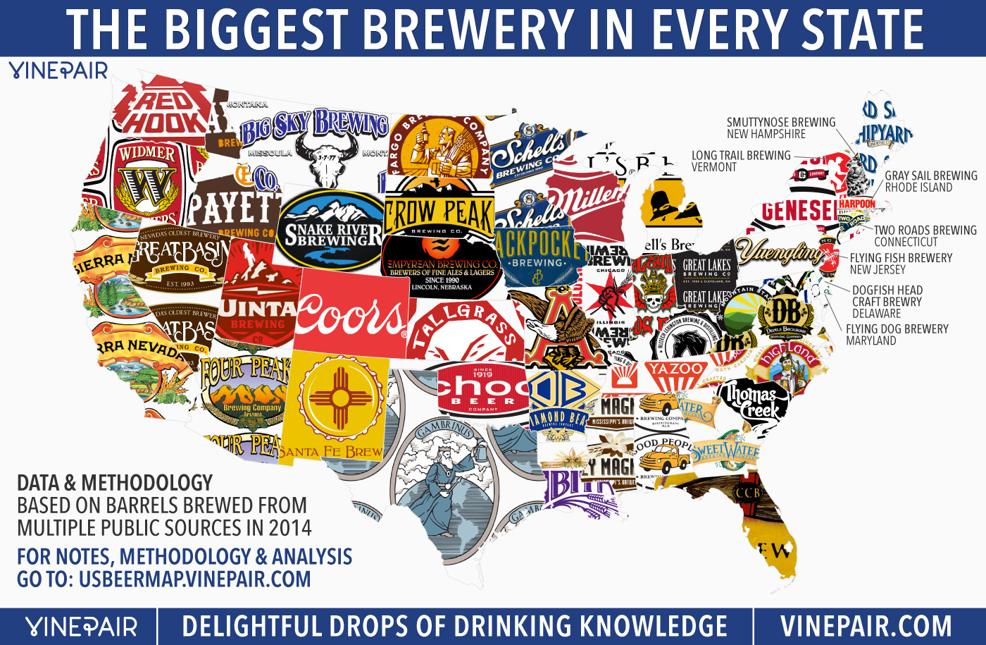 Map: The Biggest Brewery In Every State In America | Vinepair - Florida Brewery Map