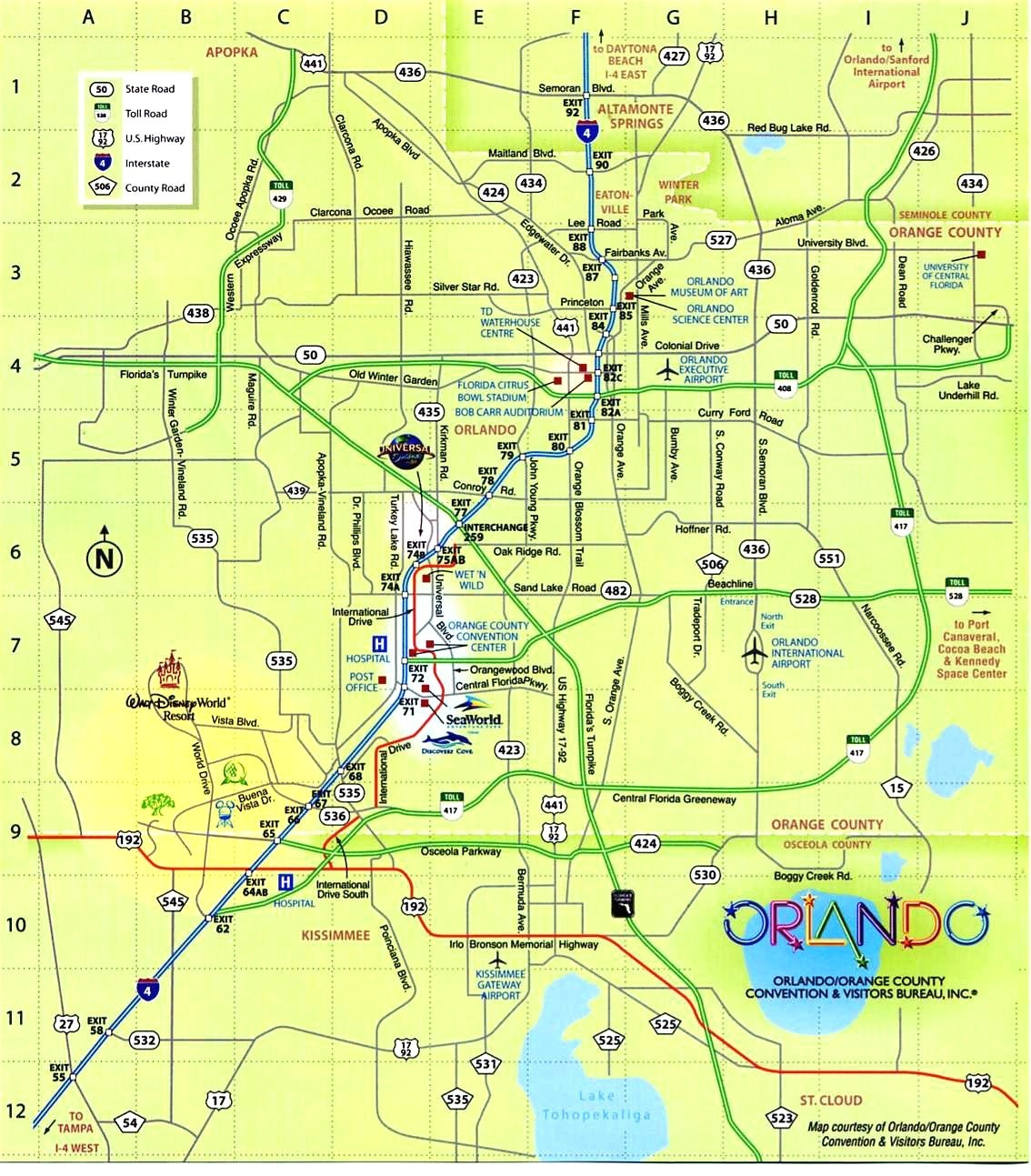 Map Usa Orlando | Globalsupportinitiative - Central Florida Attractions Map
