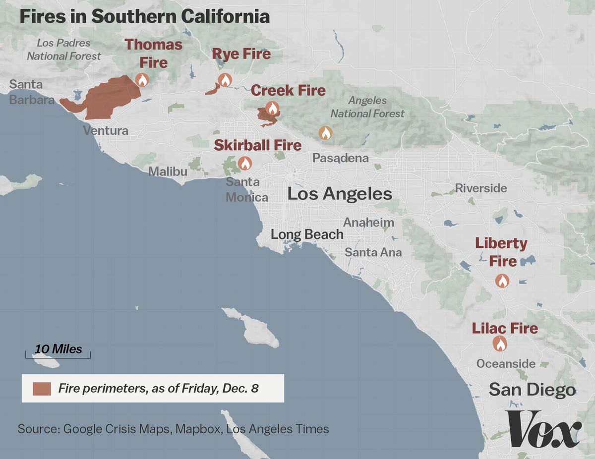 Map: Where Southern California's Massive Blazes Are Burning - Vox - Map Of Thomas Fire In California