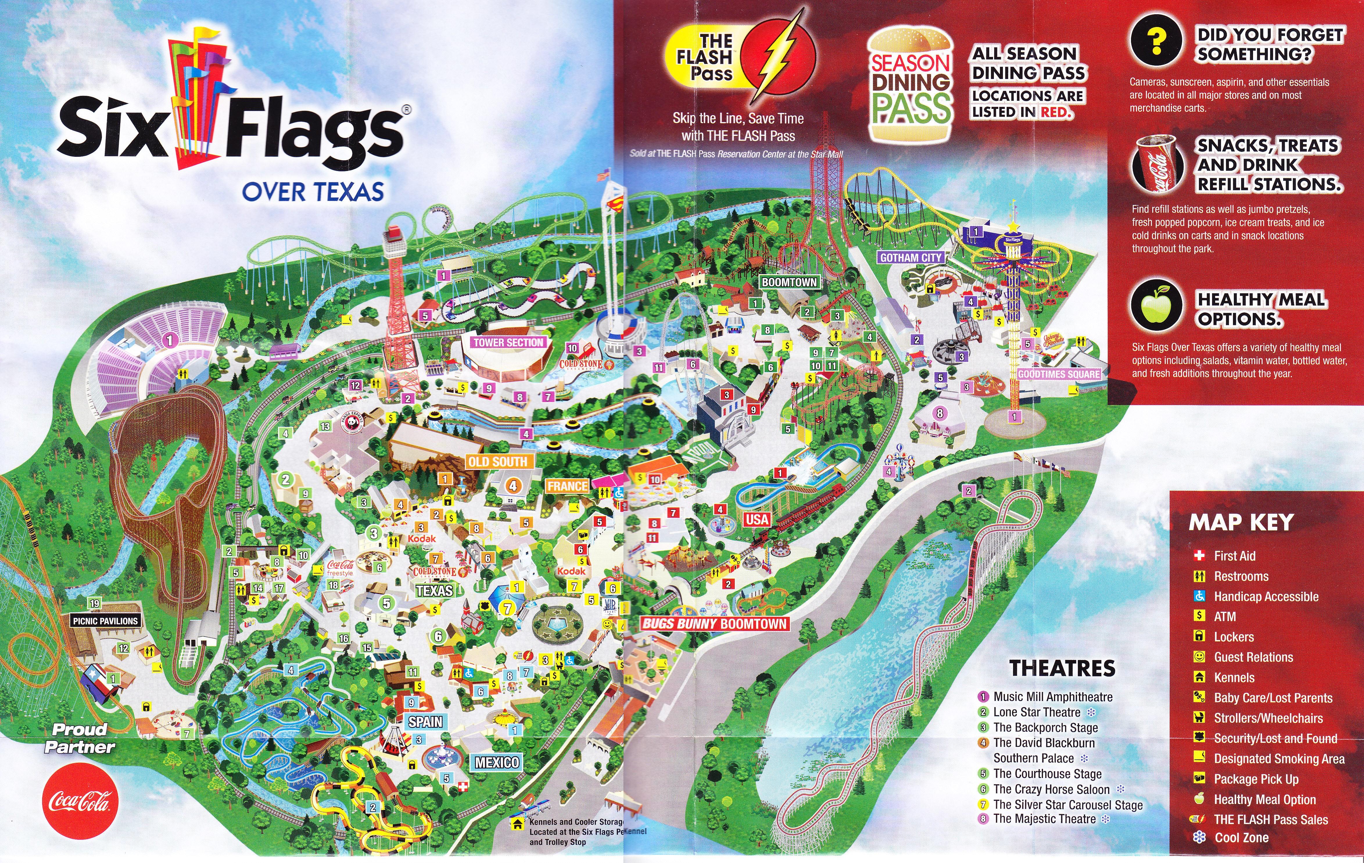 Maps 0007 12 Six Flags Over Texas Map | Settoplinux - Six Flags Over Texas Map App