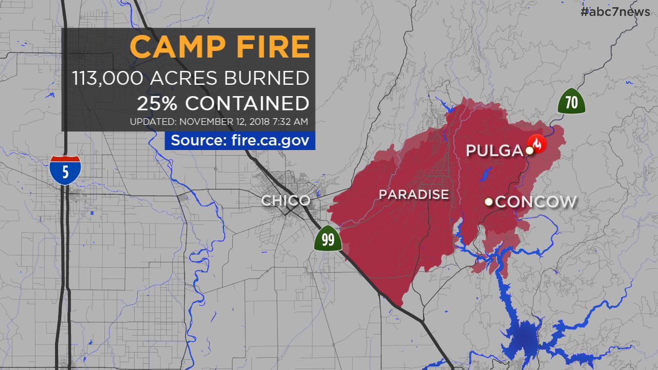 Maps: A Look At The Camp Fire In Butte County And Other California - Fire Watch California Map