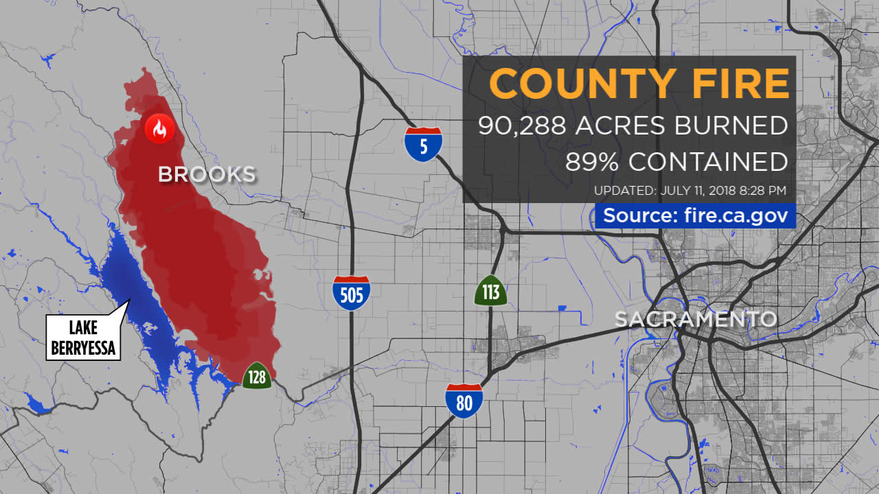 Maps: A Look At The 'county Fire' Burning In Yolo, Napa Counties - Fire Map California 2018