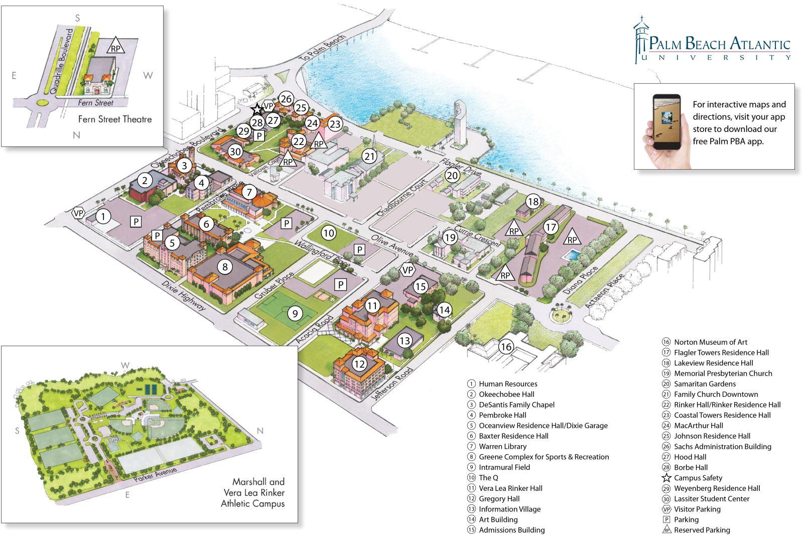 Maps And Directions   Palm Beach Atlantic University - Street Map Of Stuart Florida
