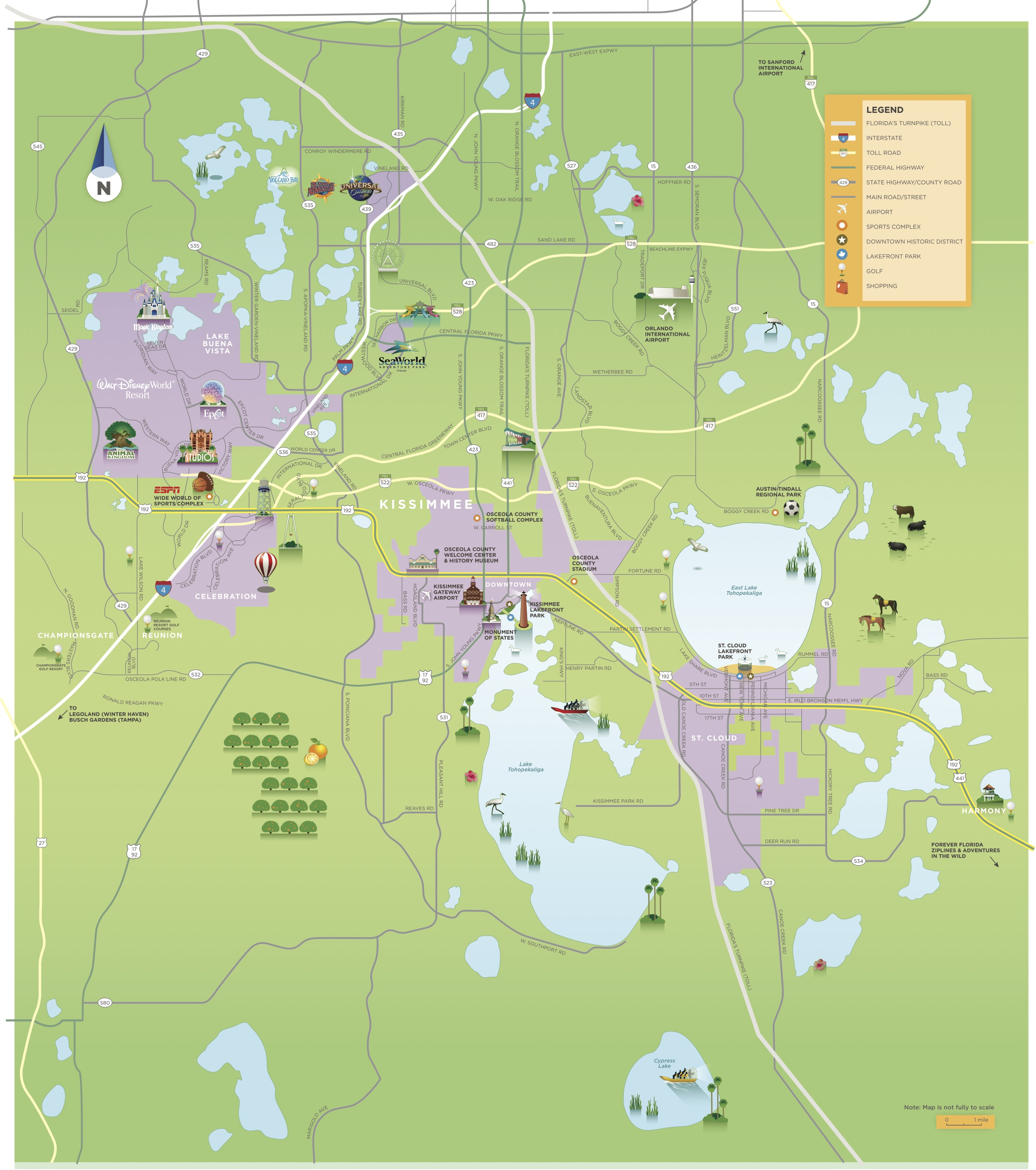 Maps & Area Guides | Experience Kissimmee - Central Florida Attractions Map