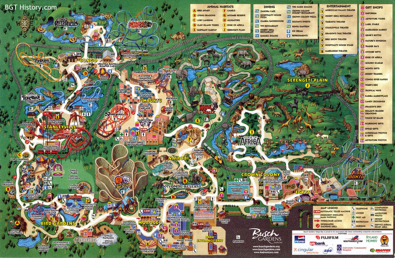 Maps - Bgt History - Busch Gardens Tampa History - Florida Busch Gardens Map