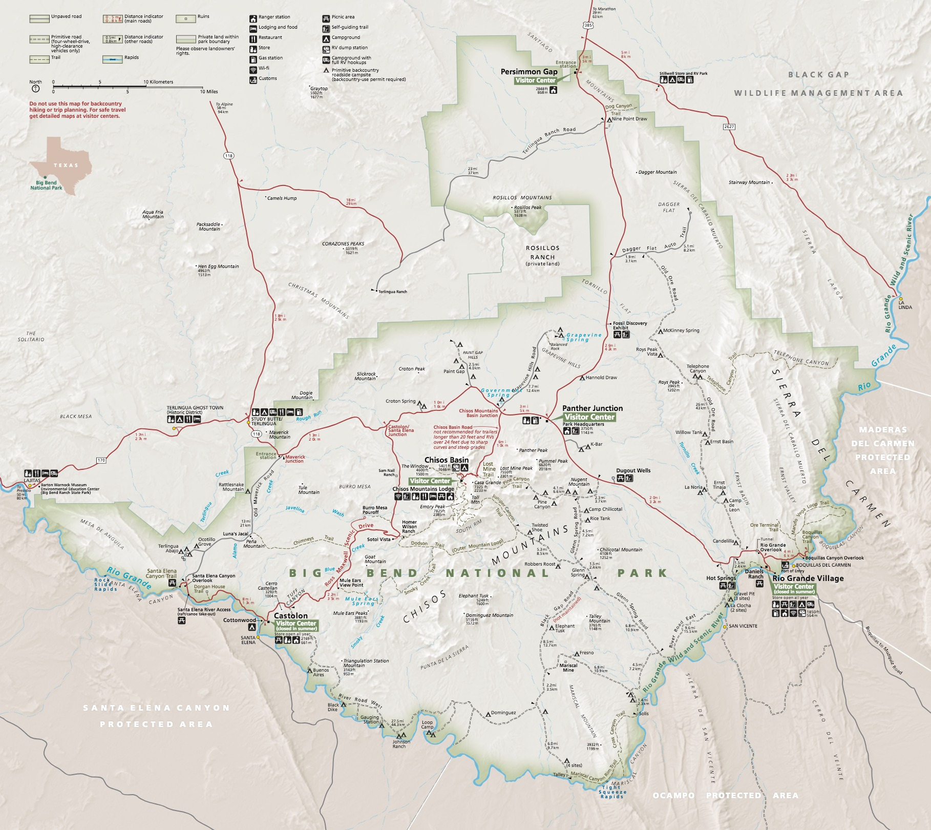 Maps - Big Bend National Park (U.s. National Park Service) - Florida Caverns State Park Map