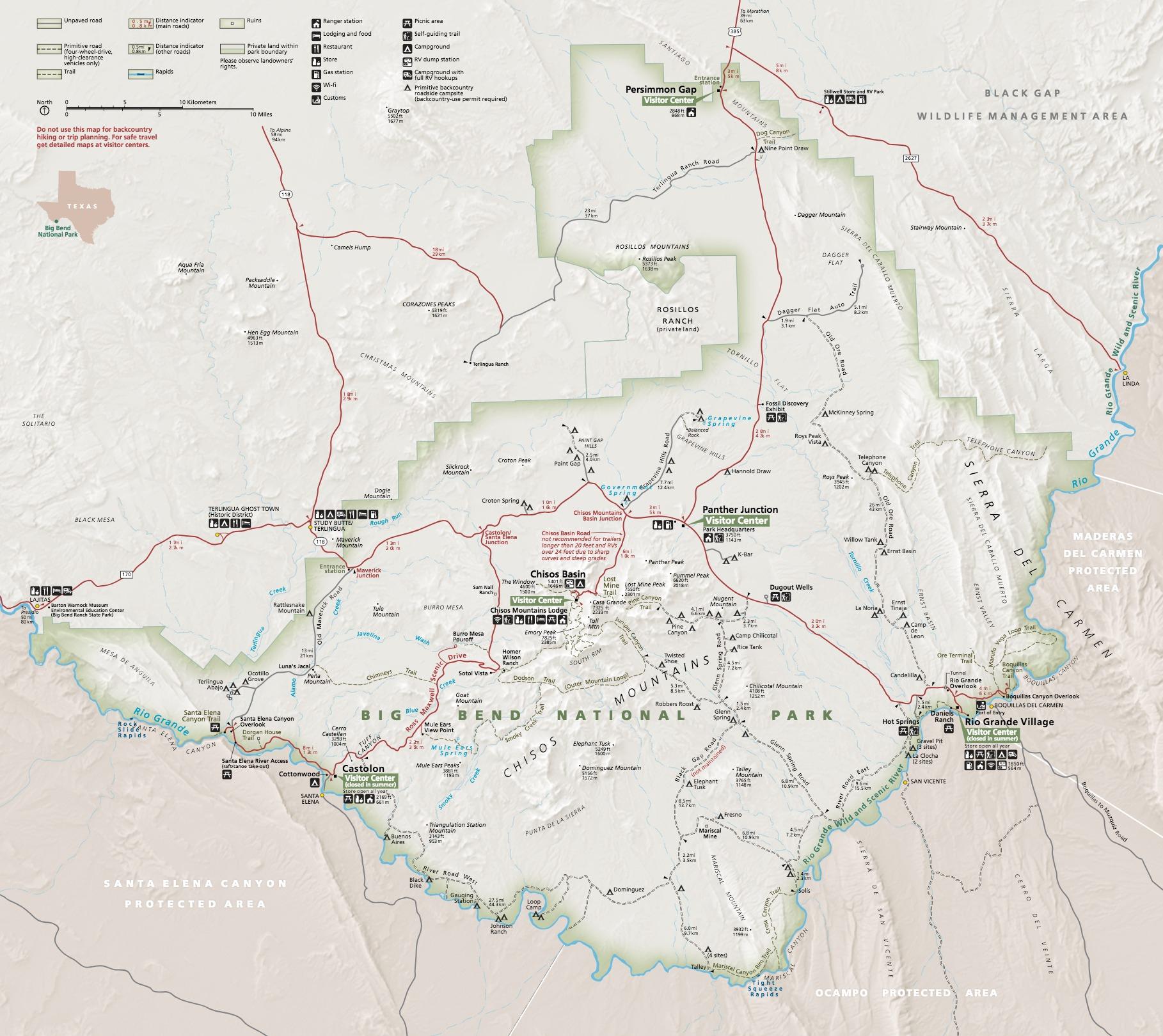 Maps - Big Bend National Park (U.s. National Park Service) - South Texas Rv Parks Map