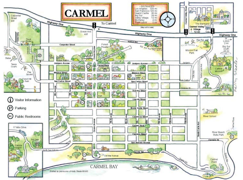 Maps - Carmel Chamber Of Commerce, Carmel, Ca, California   Big Sur - Carmel California Map