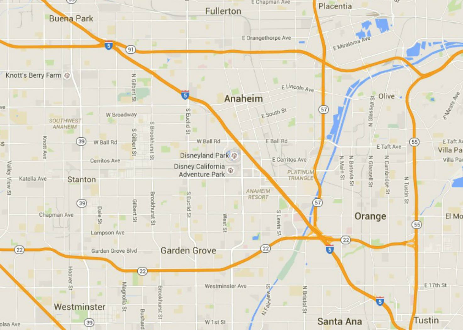 Maps Of Disneyland Resort In Anaheim, California - Map Showing Anaheim California