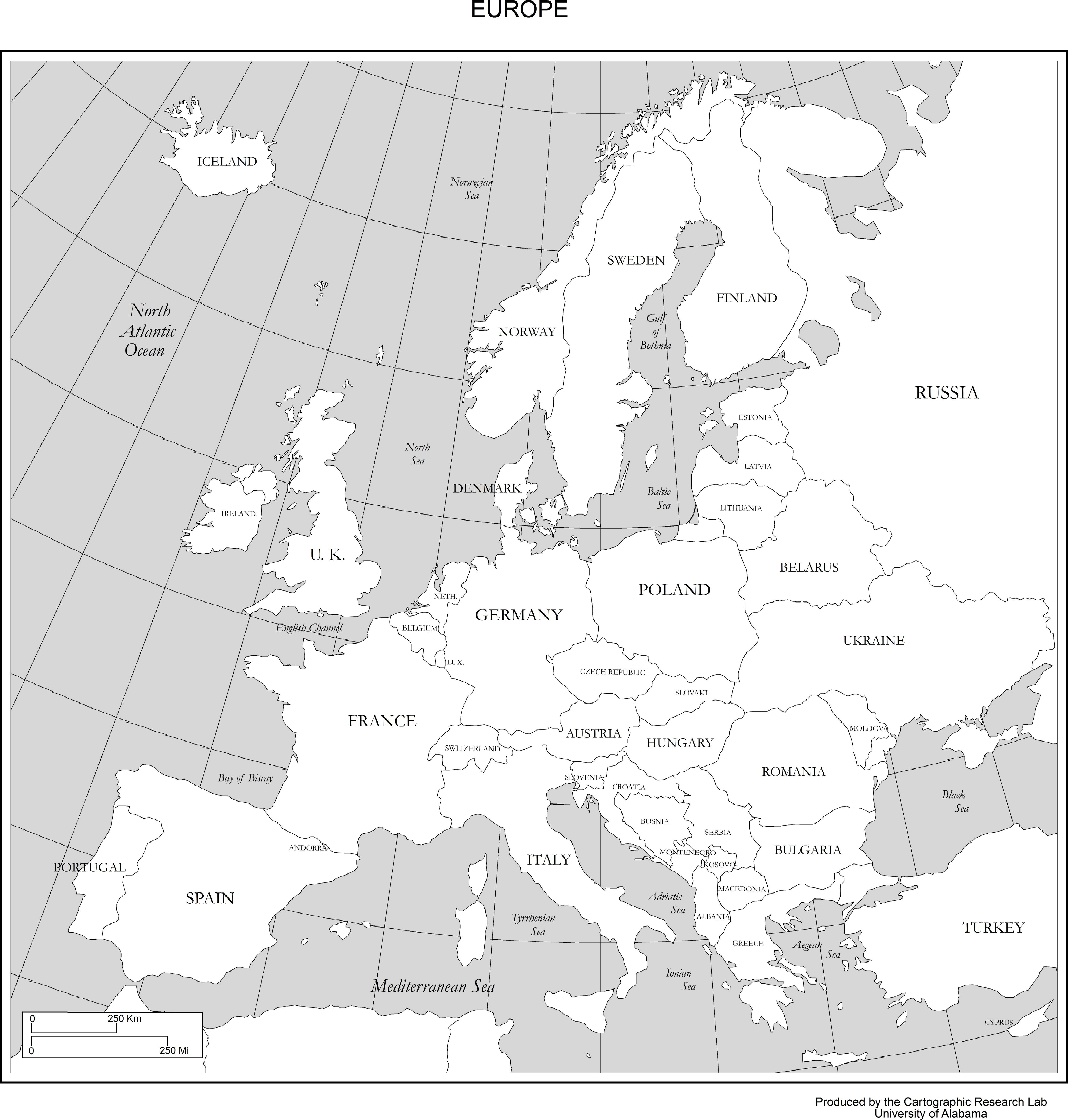 Maps Of Europe - Large Map Of Europe Printable